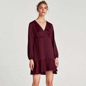 ZARA Burgundy A-Line Dress with Ruffled Hem